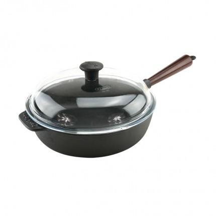 Μαντεμένιο τηγάνι βαθύ με καπάκι pyrex Carl Victor 25cm με ξύλινο χερούλι | www.mantemi.gr